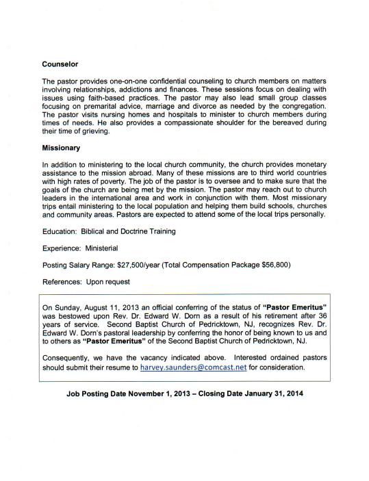 Pastoral job description second baptist church pastoral job description altavistaventures Gallery